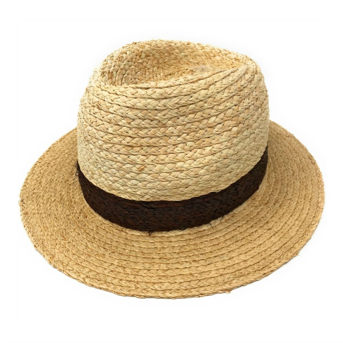 Straw Trilby Hat - Natural/Brown - Raffia Straw - Antigia Style